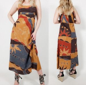 Abstract sleeveless dress vintage midi rayon